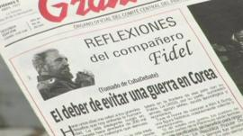 Newspaper with Fidel Castro's editorial