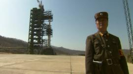 Guard in front of missile launch tower