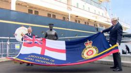 Dixie Dean and Norrie Nordell by the Royal Yacht Britannia