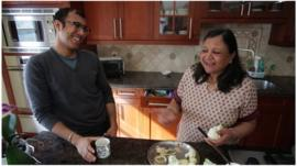 Ravi and Asha Jain in the kitchen