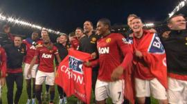 Man United players celebrate title