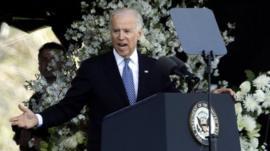 Vice President Joe Biden speaks at memorial service