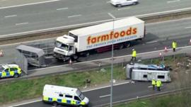 Scene of accident on M62 motorway