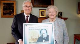 Mervyn King, the Governor of the Bank of England with Lady Soames, the only surviving child of Winston Churchill
