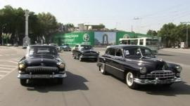 Old Russian cars on the streets of Dushanbe