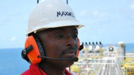 Maxwell Amissah at work on one of the oil platforms