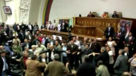 The fight breaking out in Venezuela's parliament