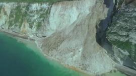 Landslip on the Dorset coast at St Oswald's Bay, east of Durdle Door