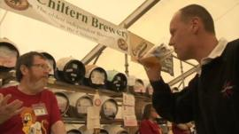 A man sips beer at Reading Beer Festival