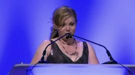 Former kidnap victim, Jaycee Lee Dugard, speaking at the annual Hope Awards held by the National Center for Missing and Exploited Children