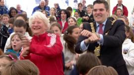 Dame Mary Peters and Lord Mayor Gavin Robinson