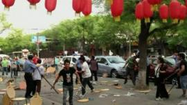 The scene of a street fight in China