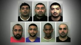 The seven men found guilty of raping and trafficking girls