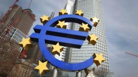 The Euro logo outside the ECB