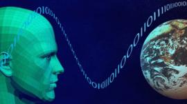 A graphic of a person and the Earth representing the world wide web