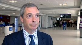 Nigel Farage speaks at Edinburgh Airport