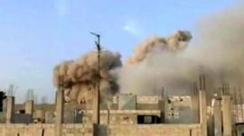 Smoke rises from Qusair, Syria