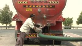 Tanker at Dubai sewage plant