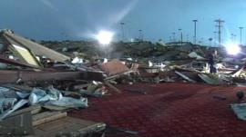 The bowling alley in Moore, Oklahoma, which has been flatted by the tornado