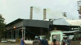 Workers walk into the sugar mill