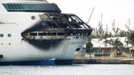 The fire-damaged ship, Grandeur of the Seas