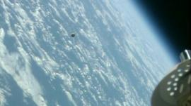 Soyuz capsule approaching International Space Station