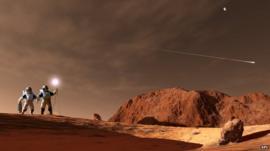 Artwork of astronauts on Mars