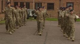 Soldiers at their base in North Luffenham, Rutland