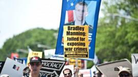 Banners supporting Bradley Manning