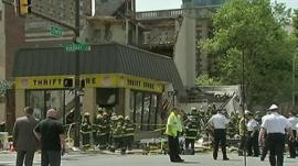 Emergency workers at the scene of the Philadelphia building collapse