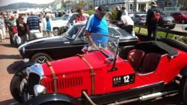 Vintage cars on display at Llandudno promenade ahead of the Three Castles rally