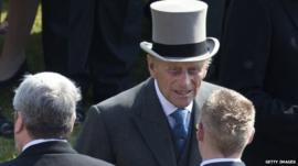 Prince Philip with guests during a Garden Party at Buckingham Palace on June 6, 2013