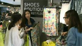 Topshop shoppers in Hong Kong