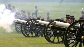 Gun salutes are fired to mark the Duke of Edinburgh's birthday in Green Park, London