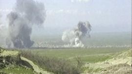 Smoke rises during the attack on Halabja