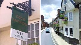 The new and old pub signs in Bury St Edmunds