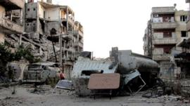Damaged buildings the northern Syrian city of Aleppo