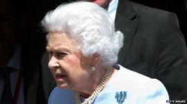 Queen Elizabeth II leaves the London Clinic after visiting her husband Prince Philip, Duke of Edinburgh