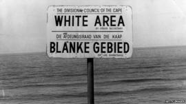 Apartheid-era sign on a beach in South Africa