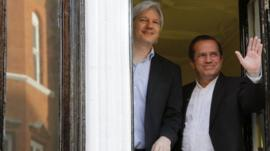 Julian Assange and Ecuador's Foreign Minister Ricardo Patino at Ecuador's embassy in central London on Sunday 16 June 2013