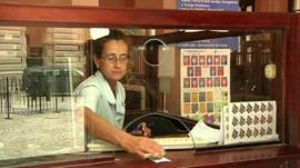A post office worker in Havana