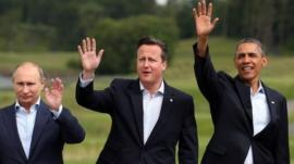 Vladimir Putin, David Cameron and Barack Obama