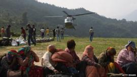 Rescued flood evacuees