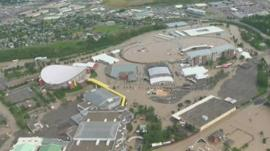 Flood water around the Saddledome and Calgary Stampede