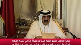 Qatari emir Sheikh Hamad who has handed power to his son Tamim