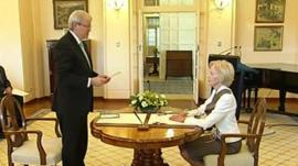 Kevin Rudd is sworn in as the new Australian prime minister