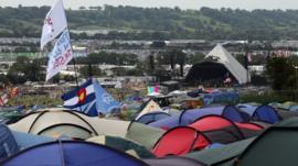 Tents in field