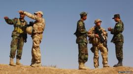 British soldiers training Afghani troops at Ghar Ordoo military base