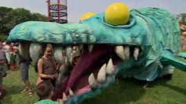 Horace the plesiosaur in the Kidz Field at Glastonbury