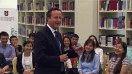 David Cameron with students in Kazakhstan